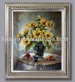 De la mano- hecho de flores pintura al óleo con marco de madera de la foto, antiguos de plata marco de imagen, marco de fotos