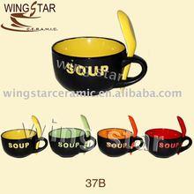 37B ceramic Jumbo mug with spoon for soup