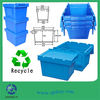 2014 hot new heavy duty plastic moving crates with foldable lids