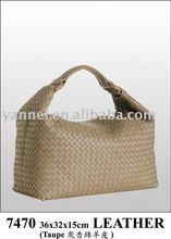 2015 fashion lady leather bag_woven handbag_lambskin lady handbag_leather handbag