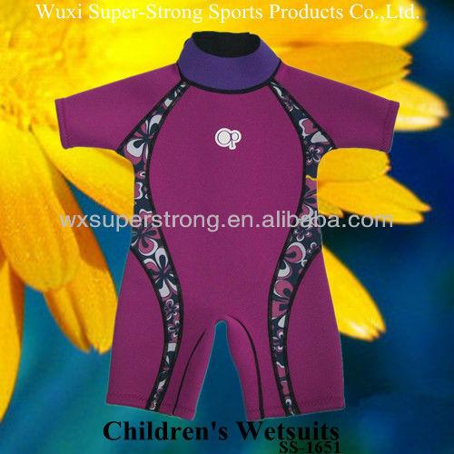 الأطفال ملابس الغوص النيوبرين 2014 للفتيات، scr مع طلاء النايلون، غرز flatlock