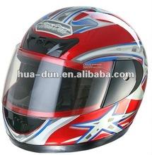 Huadun red shell full face motorcycle helmet,HD-02B