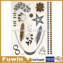 Metallic glitter fashion customized temporary tattoo sticker