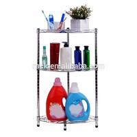 DIY 3 Tiers Chrome Metal Corner Bathroom Shelf , NSF & SGS Approval
