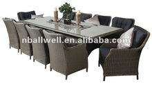AWRF6146 wicker dining table and chair with 5mm tempered glass from NINGBO supplier
