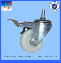 Industrial medium-sized caster made of white pu or pa with or without brake