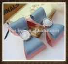 simple hair bow with decorative rhinestone center,rhinestone fabric bow pattern