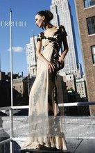 Scoop Neck Full Length evening dresses short sleeve