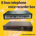 8 lignes enregistreur de voix en ligne de boîte d'enregistreur de voix de téléphone