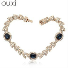 OUXI 18k gold plated infinity bracelet wholesale with Austrian Crystal
