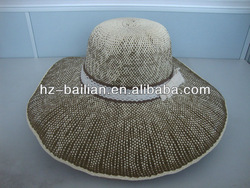 Custom hand made natural straw hats , paper hats