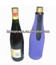Neoprene beer bottle cover cooler bag with zipper