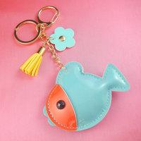 FISH genuine leather mini key chain blue keyring