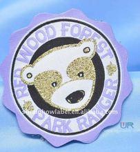cute bear burning edge/broder woven garment sticker