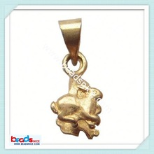 ID 6445 Pendant bail pinch style brass animal natural stone pendants