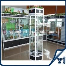 White and Black color auto parts shop glass shelves car accessories display rack