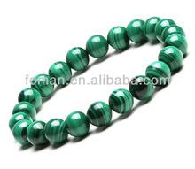 8mm nice round natural gemstone precious malachite bracelet