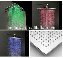 bathroom big rain spa shower head square chrome led lighting