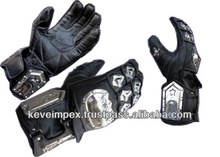 Top quality genuine cow hide leather full Motorbike protection racing gloves,