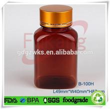 100cc PET brown pill medicine bottles plastic sealable jar&38mm gloden matel screw cap,33mm CRC cap