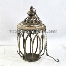 Distressed white antique french metal candle lantern