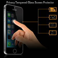 Asahi 0.33mm Mobile Phone anti shock Anti-Peek Dark 2.5d 9H Tempered Glass LCD Privacy screen protector for iPhone 5 5c 5s