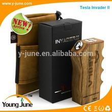 tesla invader II wood mechanical mod coming !!! original tesla invader II e cig wood box mod kit with MOSFET protect 100% safe