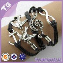 Yiwu Fashion Hot Sale Anchor Double Birds Musical Note Infinity Handmade Charm Leather Rasta Bracelet