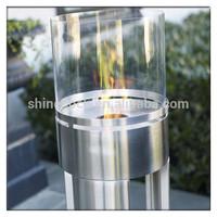 Free standing stainless steel + glass Bio Ethanol Fireplace / Lareira / Chemine / Kamin