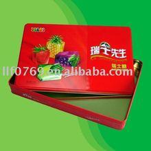rectangle metal candy box with printing on lid.tin box