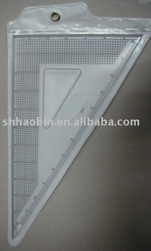 Triangular de acrílico gobernante con borde de acero