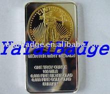 liberty gold and silver plating bar bullion silver bars