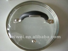with s.s handle Tempered Glass Lid