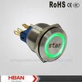 Hban 22mm( ce rohs ip65) anneau vert illuminé. commencerqualité symbole avec bouton poussoir en métal, interrupteur métallique, interrupteur d'alimentation