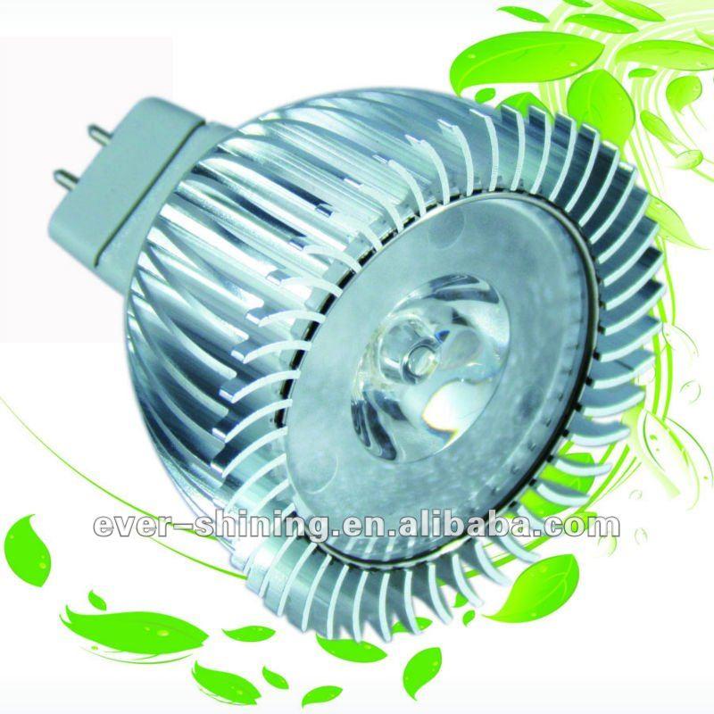 Más potente 24 V 12 V empotrada MR16 GU10 Mini proyector LED de 3 W aprobado CE ROHS