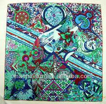 flower women fashion square hand pure silk roll hem silk scarf