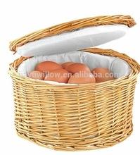 100%handamde丸柳の卵のバスケットふたが付いている鶏の卵のバスケット