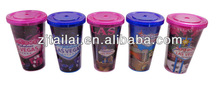 Double wall acrylic tumblers with straw