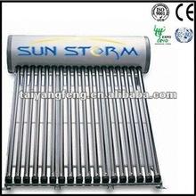 green energy family using solar water heater