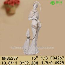 Polyresin Craft Noble Woman Figurine Walking Dog