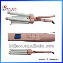 Aluminum triple barrel lcd hair curler for beauty salon equipment