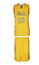 Custom basketball jersey yellow james basketball tops and shorts