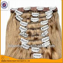 100% remy human hair clip in hair indian virgin hair