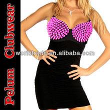 Sexy Party Mini Dress,Punk Rivets Bra Top Sexy Club Mini Dress, 2013 Fashion Women Dress
