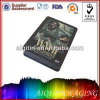 Fashionable design CD/DVD metal tin box case hinged