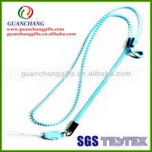 OEM fashion light color zipper lanyard with custom flag