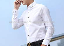Men's slim fit spread buttoned collar casual white shirt fashion style