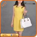 Hot Design Backless poliéster amarelo vestido de noite
