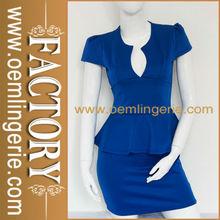 Women Blue Adorn Waist Hot Sexy office dress