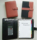 2014 new leather organizer spiral notebook with calculator